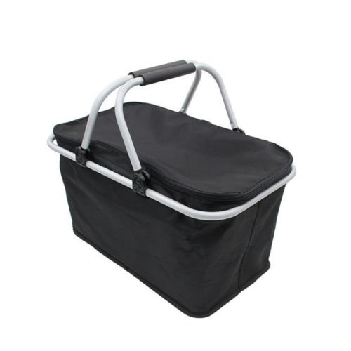 Foldable Ultra-size Insulated Picnic Basket for Outdoor Picnic Lightweight Cooler with Carrying Handle( Black)