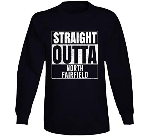 Straight Outta North Fairfield Ohio City Grunge Parody Cool Long Sleeve T Shirt L Black -
