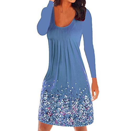 bleu chic Floral LANSKIRT Manches femme robe Robe Manches Genou Robe Elgante Tunique Imprim Robe Longues Longue Longueur Volants Casual Femmes 8wwHq