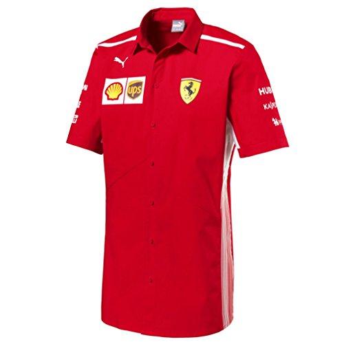 - Ferrari Scuderia Formula 1 Men's Red 2018 Button Down Team Shirt w/Sponsors (Medium)