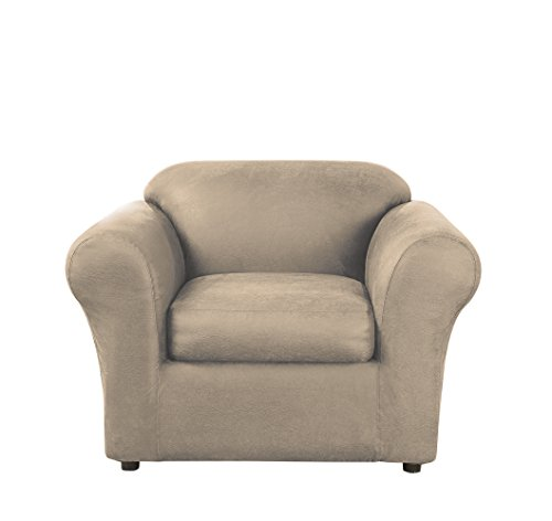 (Sure Fit Ultimate Heavyweight Stretch Faux-Leather Separate Seat Chair Slipcover - Rustic Birch)