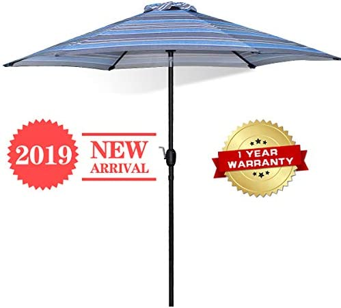 FRUITEAM Outdoor Umbrella 9ft Patio Umbrellas Table Umbrella Tilt Adjustment Crank Lift,UV Protection Pool Market Striped Umbrella, Lightweight Aluminum Pole Awning Blue Stripe, 1 Year Warranty
