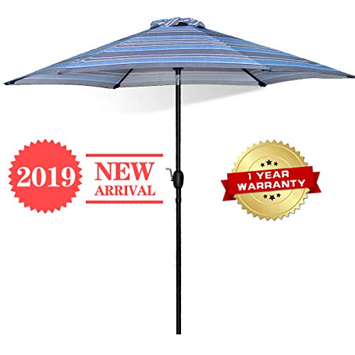 FRUITEAM Outdoor Umbrella 9ft Patio Umbrellas Table Umbrella Tilt Adjustment Crank Lift,UV Protection Pool Market Striped Umbrella, Lightweight Aluminum Pole Awning Blue Stripe, 1 Year Warranty