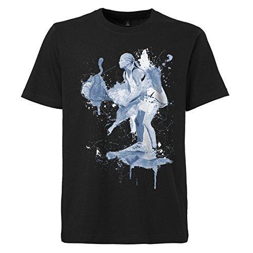 Tennis schwarzes modernes Herren T-Shirt mit stylischen Aufdruck