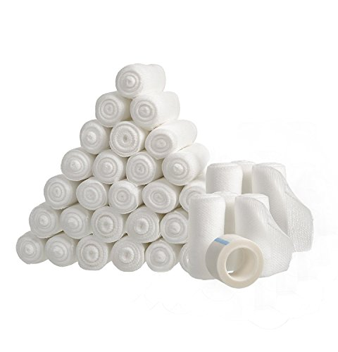 36 Gauze Bandage Rolls with Medical Tape, 2