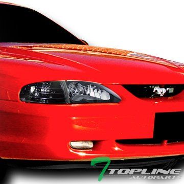- Topline Autopart Euro Black Housing Crystal Headlights with Signal Parking Corner Lamps K2 For 94-98 Ford Mustang