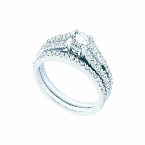 1.04CTW DIAMOND LADIES BRIDAL SET WITH 0.40CT ROUND CENTER (Round 0.4 Center Ct)