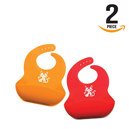 Doyenna's Baby - Waterproof Silicone Bib Easily Wipes Clean Adjustable Snaps and Wide Food Pocket-Soft Feeding Bib Easily Rolls Up and Retains Shape - Waterproof Bibs Easily Wipe Clean (Red - Orange)