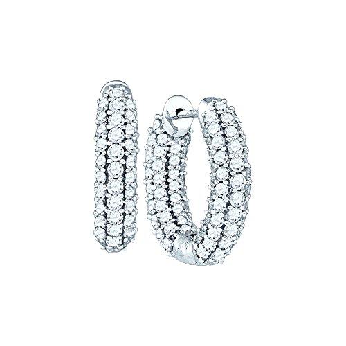14K White Gold Diamond Inside Out Hoop Earrings 5-1/10 (Inside Out Diamond Earrings)