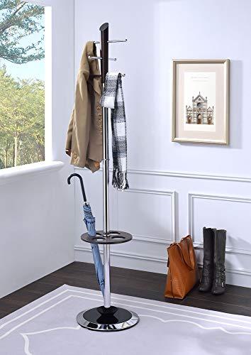 Benjara Benzara BM184780 Freestanding Coat Rack with Umbrella Stand, Brown and Silver