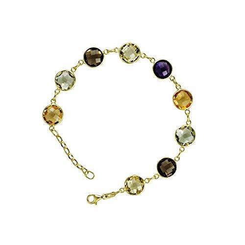 14k Yellow Gold Multi-color Stones Citrine Lemon Quartz Smoke Quartz Bracelet
