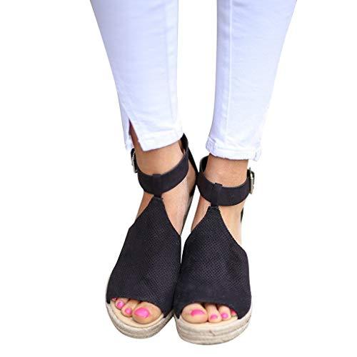 Tacchi Bocca Slip Moda Con Di Comodo on Toe Per Black sandali Spiaggia Scarpe Sandali Donna Festa Peep Shopping Casuale Estate Scamosciato Pesce Selvaggio Bazhahei Alti Zeppa vq6wOFxnE