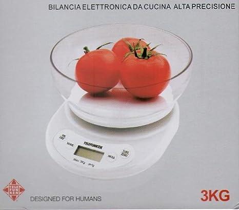 Telefunken M01211 Báscula electrónica de cocina Transparente, Color blanco - Báscula de cocina (Báscula