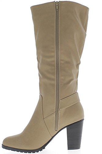 ... Stiefel Frau genannt groß Beige Leder mit Flansch 9 cm Absatz ...