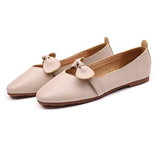 FLYRCX Dulce Arco Boca Baja Suave Fondo Plano Zapatos cómodos Antideslizantes Zapatos de Maternidad señoras Zapatos de Trabajo B
