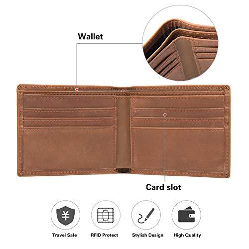 Polare Men's RFID Blocking Vintage Italian Genuine Leather Slim Bifold Wallet