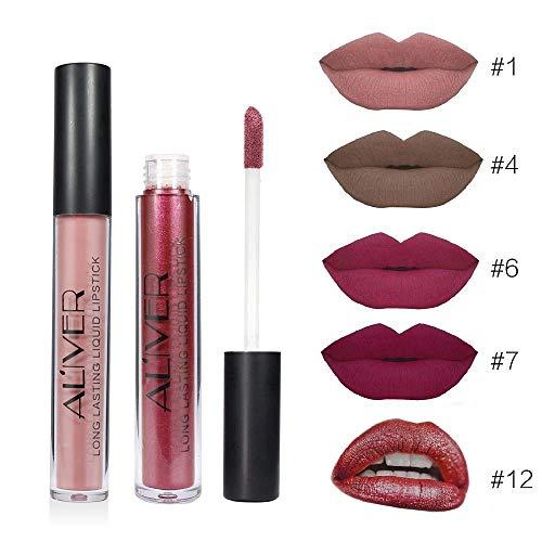 ALIVER 5pcs Matte Lipgloss Madly Bold & Vivid Color Liquid Lipstick Long Lasting Waterproof Lip Gloss Set Beauty (#1.4.6.7.12)