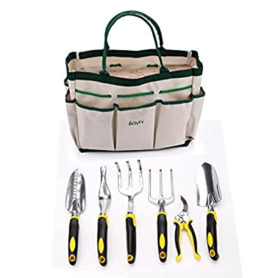Garden Tool Set ?Hmlai@ Aluminum 7 Piece Portable Garden Tool Set Includes 6 Tools Weeder/ Trowel /Cultivator /Transplanter /Weeding fork /Pruner/Tool Bag