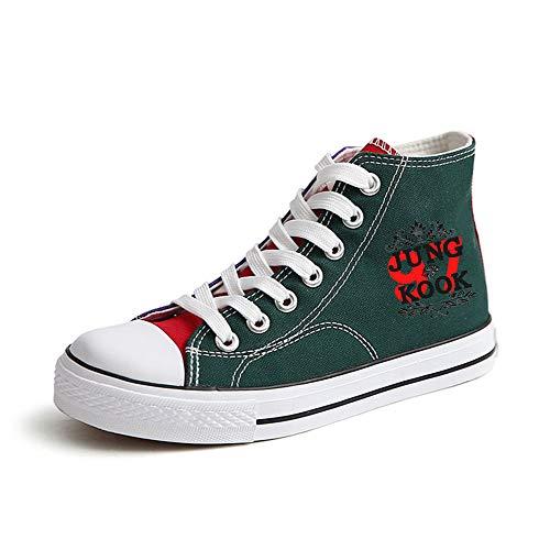 Popular Green43 Cordones Fashion Ayuda Con Lona Zapatos Alta Bts Transpirables Pareja Ocasionales De q1StAxU