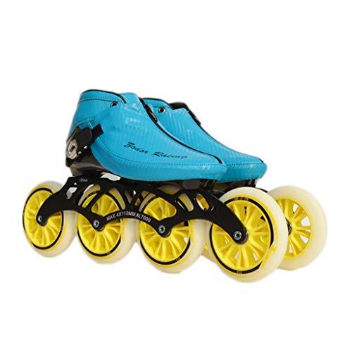 ブレーキ光の正義NUBAOgy インラインスケート、90-110ミリメートル直径の高弾性PUホイール、3色で利用可能な子供のための調整可能なインラインスケート (色 : 黒, サイズ さいず : 46)