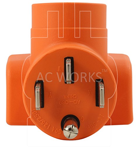 AC WORKS [AD1450520] Plug Adapter NEMA 14-50P 50Amp Range/RV/Generator Outlet to Household 15/20Amp 125Volt T-Blade Female Connector by AC WORKS (Image #2)