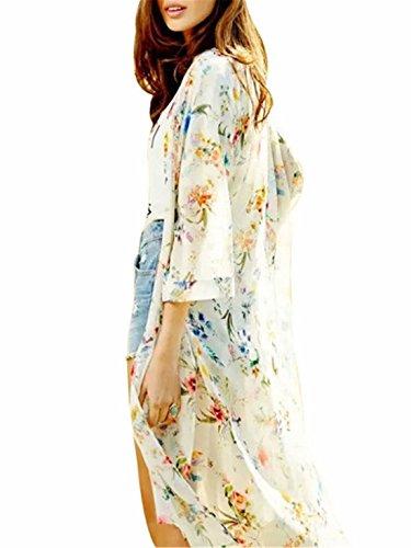 EASONDDD ロング カーディガン レディース 花柄 シフォン 7分袖 シースルー 爽やか 透け感 羽織り カジュアル 冷房対策 通勤 通学 旅行 お出かけ UVカット