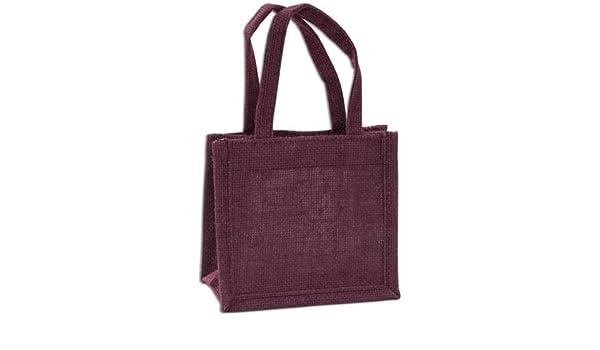 Yute - Bolsa de regalo (13 x 15 x 8 cm), color burdeos, yute ...