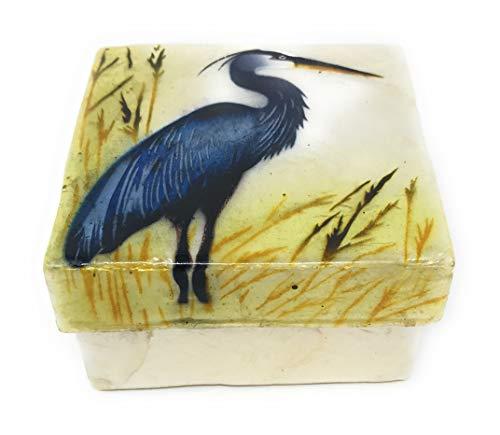 Kubla Crafts Blue Heron Capiz Shell Keepsake Box, 3 Inches Square