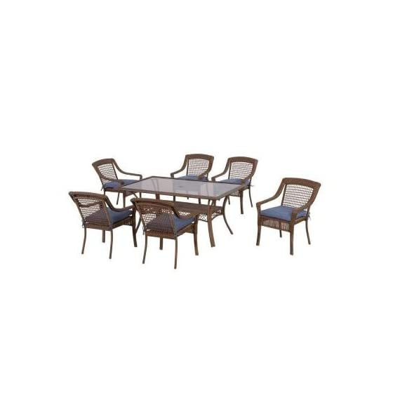 Spring Haven Brown Outdoor All-Weather Wicker 7-Piece Patio Dining Furniture Set with Sky Cushions, Seats 6 -  - patio-furniture, dining-sets-patio-funiture, patio - 41HK5OYOhEL. SS570  -