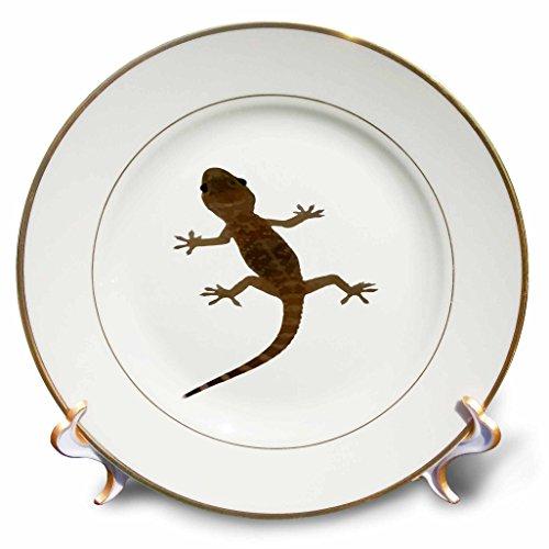 3dRose Taiche - Vector - Gecko - Mediterranean House Gecko Vector - 8 inch Porcelain Plate (cp_264475_1)