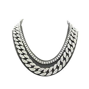 Shiny Jewelers USA Mens Iced Out Hip Hop Silver Tone CZ Miami Cuban Link Chain Choker Necklace 6