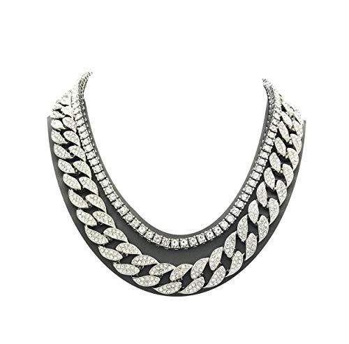 Shiny Jewelers USA Mens Iced Out Hip Hop Silver Tone CZ Miami Cuban Link Chain Choker Necklace 1
