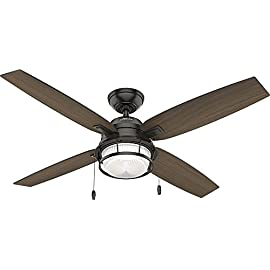 """Hunter Fan Company 59214 Hunter 52"""" Ocala Noble Bronze Ceiling Fan with Light Black 4 Reversible motor allows you to change the direction of your fan from downdraft mode during the summer to updraft mode during the winter 4 Roasted Maple / Washed Walnut Reversible blades included 13 degree blade pitch optimized to ensure ideal air movement and peak performance"""