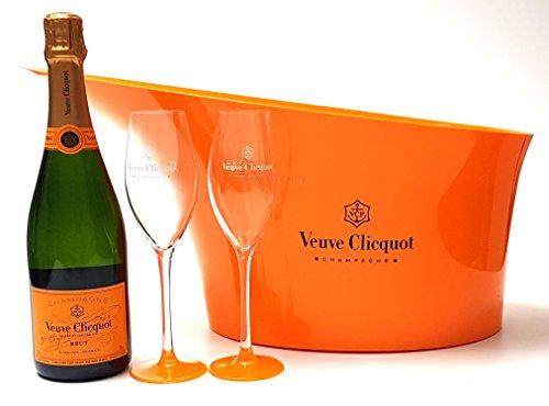 Veuve Clicquot Brut Champagner 75cl (12% Vol) + Flaschenkühler + 2x Gläser
