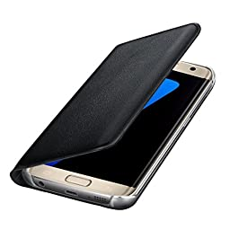 Galaxy S7 Edge Case, Sankuwen Luxury Leather Wallet Card Flip Case Cover For Samsung Galaxy S7 Edge (Black )