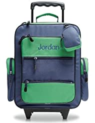 Navy & Green Personalized Kids Rolling Luggage- 5 x 12 x16 H, Kids Travel Bag