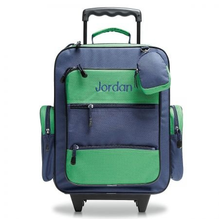 Navy & Green Personalized Kids Rolling Luggage- 5 x 12 x16 H, Kids Travel Bag (Navy Pull)
