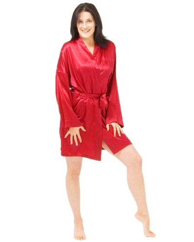 La longitud del muslo de seda kimono Cerise Bourgogne