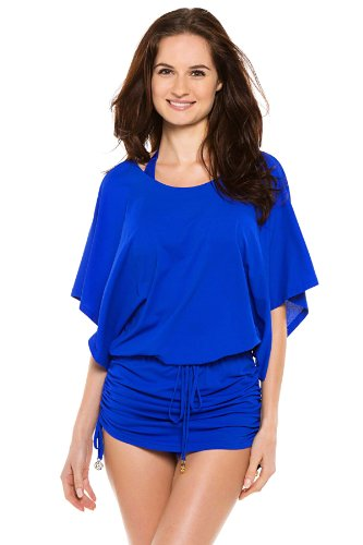 Luli Fama Women's Cosita Buena South Beach Cover Up Dress, Electric Blue, Medium