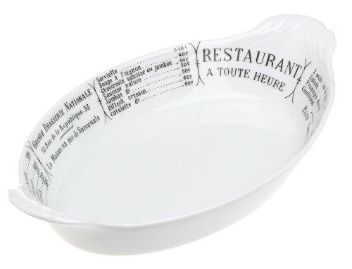 Pillivuyt Oval Eared Gratin Brasserie Baker,10 x 6.25 inch, White/Menu - Gratin Dish Pillivuyt