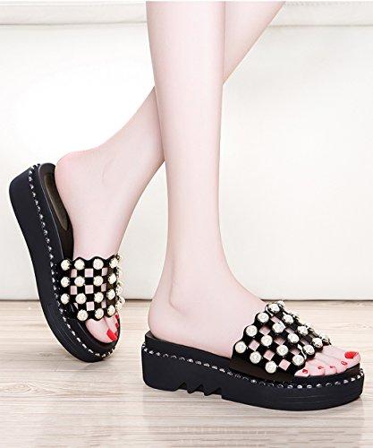 CHAOXIANG Chanclas Para Mujer Antideslizante Zapatillas De Tacón Alto Sandalias De Surf Nuevo Zapatos De Playa Del Verano ( Color : Negro , Tamaño : EU37.5/UK4.5/CN38 ) Negro