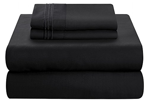 Mezzati Luxury Bed published Set - smooth and relaxing 1800 Prestige brand - cleaned Microfiber Bedding (Black, Twin XL Size)
