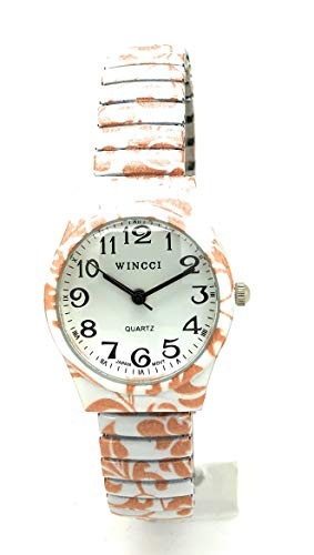 Ladies 27mm Novelty Floral Flower Elegant Stretch Elastic Band Fashion Watch Wincci (Style ()
