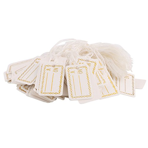 Hunulu 100/500Pcs Label Tie String Strung For Jewelry Merchandise Gold Color Price Tags (100pcs)