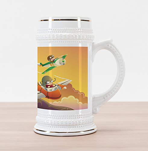 Lunarable Airplane Beer Stein Mug, Happy Kids in an Airplane Race Dreams Boys Activity Happiness Clipart, Traditional Style Decorative Printed Ceramic Large Beer Mug Stein, Apricot Orange Marigold
