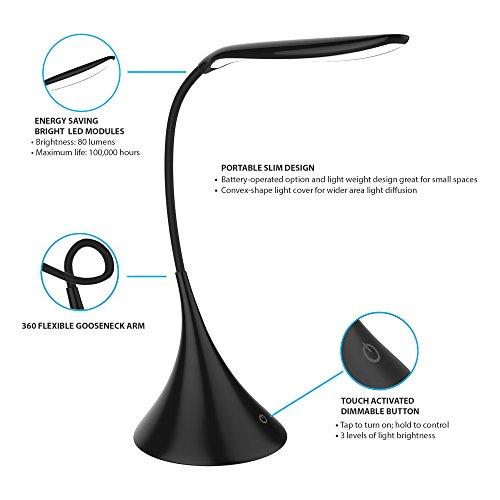 Lavish Home 72-Ledusb-B Touch Sensor Lamp Black by Lavish Home (Image #2)