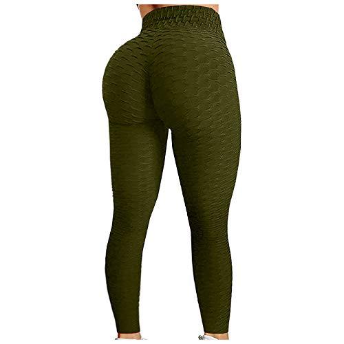 DHUDDUG Women's Foam Hip Butt Workout Tummy Control Lifting Leggings High Waist Skinny Running Yoga Solid Color Tights (XXXL, Army Green)