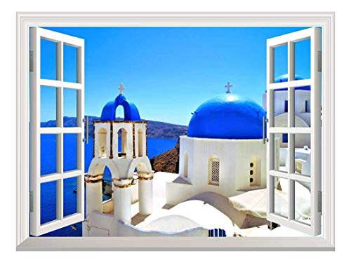 Removable Wall Sticker Wall Mural Beautiful Blue Dome Churches of Santorini Greece Creative Window View Wall Decor
