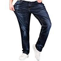 SATUKI Jeans for Men,Relax Fit Loose Straight Leg Stretch Denim Jeans Pants Plus Size Big & Tall (W32)