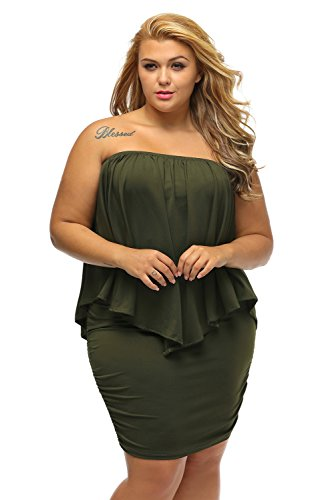 Ruffles Gloria Green Layered Mini Dressing Sexy Size Shoulder Dress Multiple amp;Sarah Plus Women's Off Army xXX61Rq